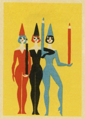 Performers with Pencils, Postcard