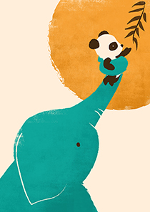 Panda's Little Helper, Greeting Card