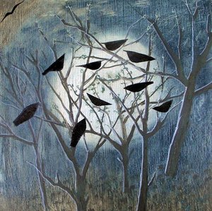 Moon,Birds & Trees, Greeting Card
