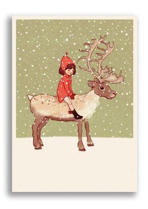Me and My Reindeer, Belle & Boo Playtime Xmas Postcard