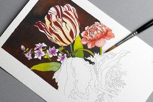 Floral Still Life, Postcard Colouring Book