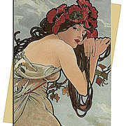 Summer (Mucha) Greeting Card