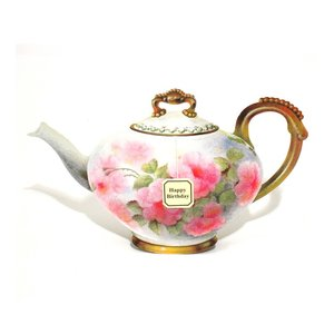 TEAPOTS-Pink Rose, notecard