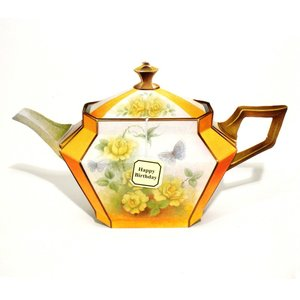 TEAPOTS-Yellow Roses, notecard