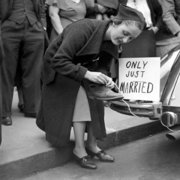 Just married sign on car, Greeting Card