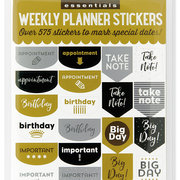 ESSENTIALS PLANNER STKRS BLK/GOLD