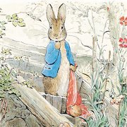 Beatrix Potter square Peter Rabbit onion patch, Greeting Card