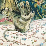 Beatrix Potter square tailor mouse sewing, Greeting Card