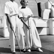 Couple playing croquet on ship, Greeting Card