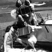 Woman by car singing with accordian, Greeting Card