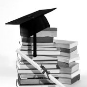 Mortar board on top of books, Greeting Card