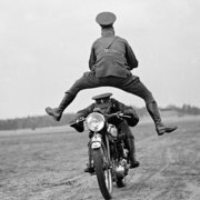 Man jumping over motorcyclist, Greeting Card