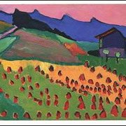 Landscape with Cottage in the Sunset (1908), Gabriele Münter, Greeting Card