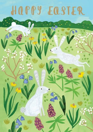 Three Easter Rabbits Greeting Card