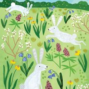 Three Easter Rabbits Greeting Card