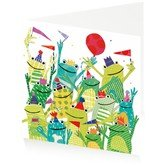 Cheering Frogs, Greeting Card