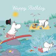 Moomin square splash Happy Birthday, Greeting Card
