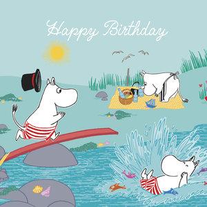 Moomin square splash Happy Birthday, Greeting Card