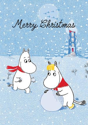 Moomin Merry Christmas snowball, Greeting Card