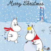 Moomin Merry Christmas snowball, Greeting Card