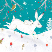 Snow Hares, Mini Card-Christmas Cello Pack