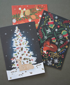 Magical Tree and Deer, Mini Card-Christmas Cello Pack