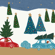 Dogs, Cars, Trees, Mini Card-Christmas Cello Pack