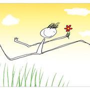 Boy Running w.Flo, Postcard