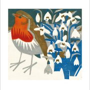 Snowdrop Robin, Greeting Card