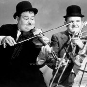 Laurel and Hardy playing the violin and trombone, Greeting Card