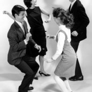 Teenage couples doing the Twist,1960s, Greeting Card