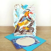 Mandarin Duck, 3D notecard