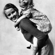 Piggy-back ride, 1930s, Greeting Card