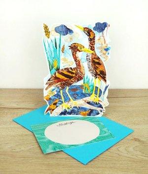 Tiger Bitterns, 3D notecard