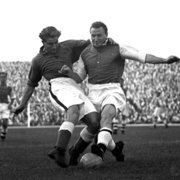 Close tackling,Everton&Arsenal,1954, Greeting Card