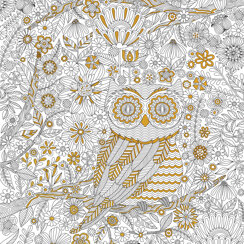 Owl Town Gold Foil Coloring Poster