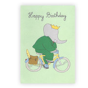 Babar Happy Birthday bicykle, Greeting card