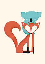 Fox & Koala, Greeting Card