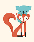 Fox & Koala, Greeting Card