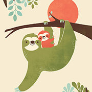 Mama Sloth, Greeting Card