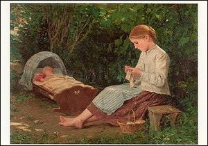 Knitting Girl watching the Toddler in the Craddle, Postcard