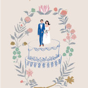 Wedding Couple on Cake, Cards - Petite