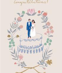 Wedding Couple on Cake, Cards - Petite