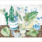 Striped Cups with Spring, Greeting Card