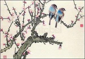 Pair of Birds on a Cherry Branch, Postcard