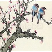 Pair of Birds on a Cherry Branch, Postcard