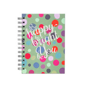Be Happy, Spiral Bound Notebook, 80 sheets