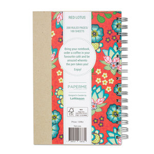 Red Lotus, Spiralbunden Anteckningsbok, 100 sidor