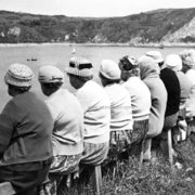 The knitting circle's outing to Lulworth Cove, Dorset, 1950s, Greeting card