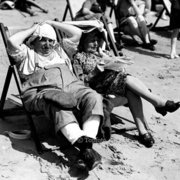 Sunbathing on Bournemouth Beach, 1946 , Greeting card